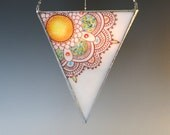Mandala Fused Glass Lantern Stained Glass Hanging Candle Holder Multicolor Triangle 22K Gold