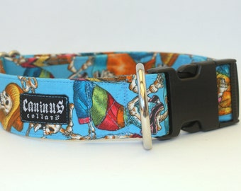 Dog Collar - Blue Day of the Dead Skeletons - Martingale & Buckle 3/4 - 2 Inch Width - XS - XXL