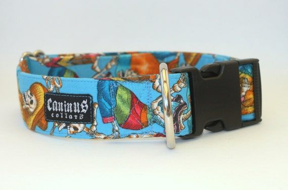 Day of the Dead Skeletons Dog Collar - Martingale & Buckle 3/4 - 2 Inch Width - XS - XXL