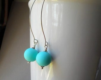 Long modern earrings, dangle earrings, silver plated, rubber ball, mint blue green seafoam sea foam ocean beach minimal bright summer drops