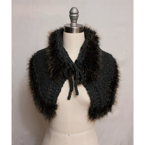 Capelet Cowl in Alpaca with Faux Mink Trim