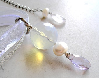 Opalite Pendant Necklace Amethyst Rose Quartz Pearl Wire Wrapped Wearable Art Jewelry