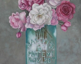 Antique Mason Jar Number 6 1858 with Pink Roses Oil Painting