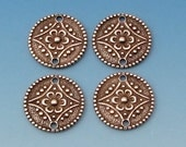 Small Flower 2 Hole Connector, Antique Silver, 4 Pc. AS343