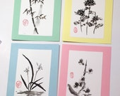 Set of four hand painted cards
