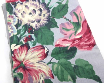 Vintage 1940s or 1950s Mid Century Shabby Chic Cotton Floral Fabric or Material with Large Pink Purple Red White and Blue Flowers