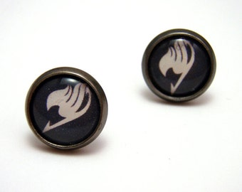 Fairy Tail Emblem Studs - Tiny black and white anime logo post earrings SMALL