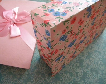 Vintage Candy Box Pink Floral Paper and Satin Ribbon