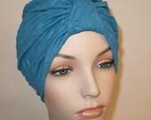 FREE SHIP USA Blue Textured Stretch Turban, Chemo Hat, Cancer Turban, Womens Hat Alopecia