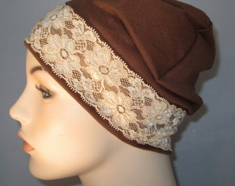 Brown Sleep Cap with Tea Color Lace Trim, Cancer Hat, Hair Loss, Lounge Cap, Chemo Hat