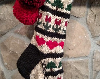 Old Fashioned Hand Knit Christmas Stocking Red Sampler with Hearts Fir Trees and Flowers