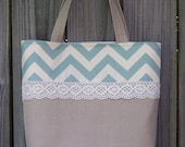 CLOSEOUT SALE -- linen burlap look teal blue chevron crochet lace purse tote market bag