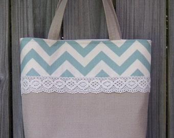 CLOSEOUT SALE -- linen burlap look teal blue chevron crochet lace purse tote market bag