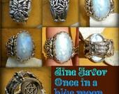 Aine favor once in a blue moon rainbow moonstone with hidden pentacle and 4 seasons trinity