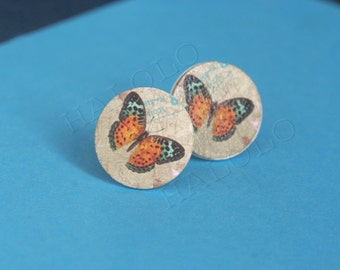10 pcs handmade butterfly wooden cabochons - 16mm (WR16-466)