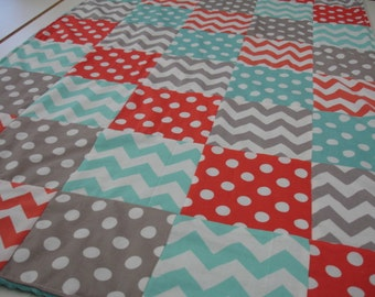 Dark Coral Aqua and Gray Chevrons and Dots Minky Comforter Blanket MADE TO ORDER