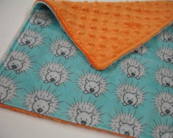 My Friend Spike Porcupine in Aqua and Orange Double Sided Minky Burp Cloth 10 x 14 READY TO SHIP