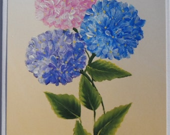 Hand Painted Hydrangea Card Painted Hydrangeas Card