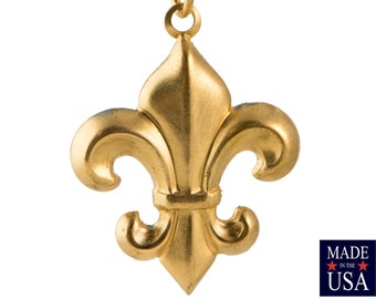 Raw Brass Fleur De Lis Charm Pendant Drop with Loop 27x21mm (6) chr188A