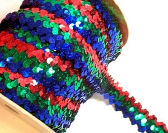 Rainbow Stretch Sequin Lace 1 1/4 Inches Wide x 3 yards, Red, Green, and Blue Rainbow Trim