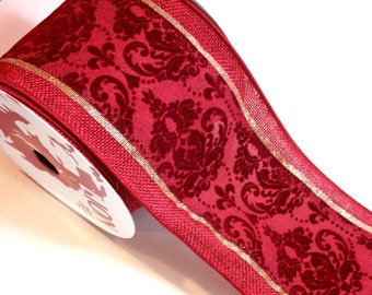 Burgundy Ribbon, Offray Colby Wired Fabric Ribbon 4 inches wide x 10 yards, Full Bolt, Burgundy Flocked Ribbon