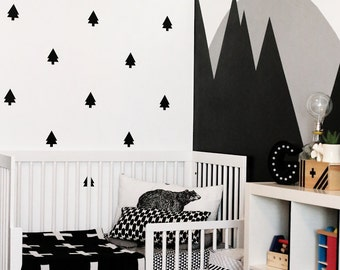 Pine Trees Wall Decal Set - Tree Wall Collage - Woodland Wall Decor Modern Nursery Trees - CN125
