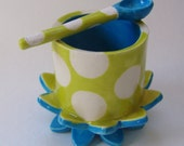 pottery Salt Dish whimsical chartreuse & bright blue polka-dots ceramic spoon, salt cellar, serving bowl for relish, condiments