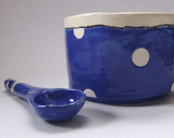 whimsical colorful pottery Serving Bowl w/ handmade ceramic spoon Delft Blue polka-dots