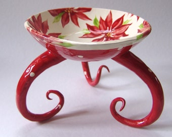 whimsical pottery Holiday Bowl w/ poinsettias, polka-dots, curly legs, fun, ceramic Christmas Home Decor