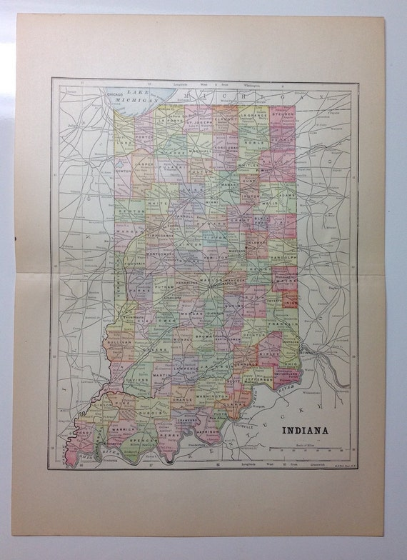 1897 Indiana State Map