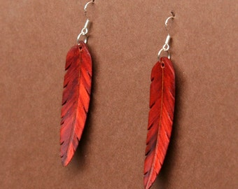 Handcarved Redheart Wood Leaf / Feather Earrings  J150701