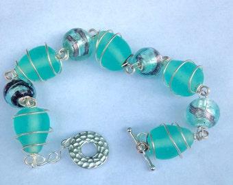 Cool Breeze Beach Glass and Wire Wrap Bracelet Handmade SRAJD