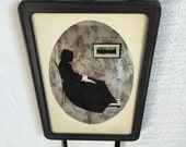 Vintage Whistler's Mother Silhouette- Reverse Painted Mirror Glass Framed Art - Small