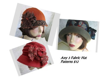 Womens Hat Patterns Any 3 Your Choice Cloche Brimmed Slouchy Hats No EU VAT Tax