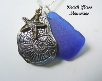 Sea Glass Necklace Blue Beach Glass Starfish Necklace Seaglass Jewelry