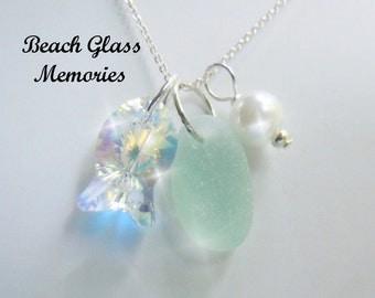Sea Glass Necklace Sea Foam Beach Glass Starfish Necklace Seaglass Jewelry