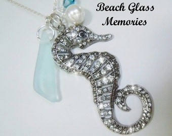 Beach Glass Jewelry Seahorse Necklace -Aqua Seaglass - Beach Pendant Sea Glass  Pendant Necklace