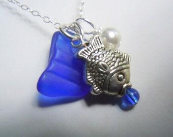 Beach Glass Necklace Blue  Sea Glass Seaglass Fish Necklace