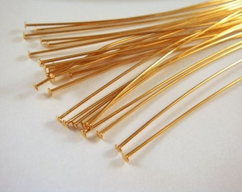 25 3 inch Headpins Gold Plated Brass, 21 Gauge - 25 pc - F4001HP-G325