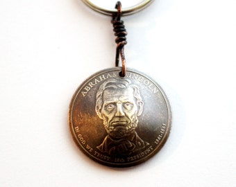 Lincolon, Washington, Hayes, Garfield, Adams  Keychain, Domed Coin Keychain, U.S. Coin, 1 Dollar Coin Keyring, Lincoln Key Ring by Hendywood