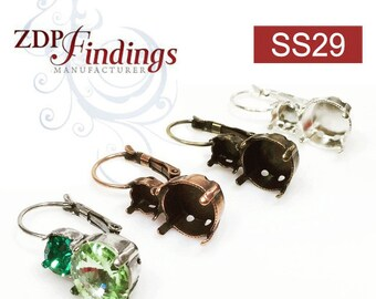 6pcs x Round Bezel Leverback Earrings Fit Swarovski SS29 and SS47 Crystals , Choose your Finish (LB29X47V)