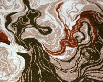 """vintage 60s synthetic drapery fabric sample, featuring great swirly design in browns, 39"""" x 35"""""""