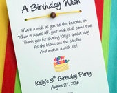A Birthday Cake Wish - Wish Bracelet with a Bead - Party Favor Custom Made for You
