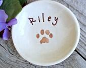 Pet Remembrance Dish - Paw Print Personalized Pet Dish - Sympathy Gift - Pet Memorial