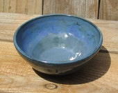 Pottery Bowl, Oasis Blue Green with White/Pink Accents