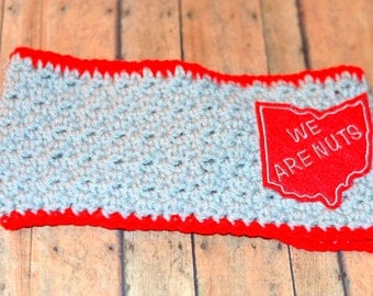 Ohio State Buckeyes Headband Scarlet and Gray We Are Nuts Crochet Headwrap Size Adult