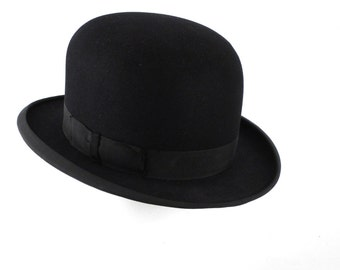 Vintage Longley Felt Black Bowler Hat and Hatbox Sz 6 5/8