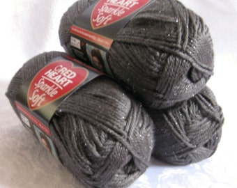 Red Heart Sparkle Soft yarn, CHARCOAL gray, medium worsted weight, grey