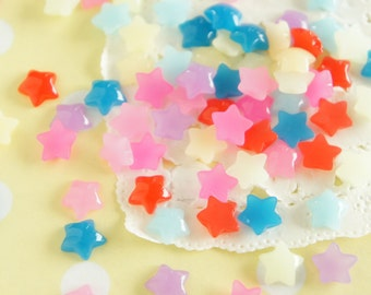 16 pcs Teeny Nail Size Clear Puffy Star Cabochon (8mm) IK153