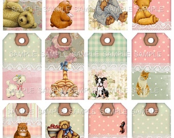 Instant Download  - Teddy Bears Puppies and Kitties Hang Tags-   Digital Download - Printable  Digital Collage Sheet